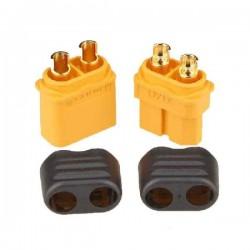 Wtyki XT60+ z osłoną - Konektor XT60 Plus - kompletne wysoko prądowe złącze - 1 para