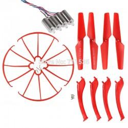 Syma X5SC / X5SW - Zestaw naprawczy - czerwony - śmigła, nogi, osłony, 4x silnik