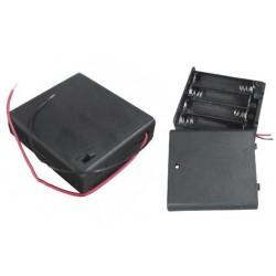 Koszyczek na baterie 4xAA (R6) - z pokrywką i wyłącznikiem