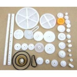 Zestaw 34 kół zębatych i zębatek z tworzywa - do budowy mechaniki robotów