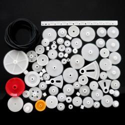 Zestaw 81 plastikowych zębatek i przekładni do budowy robotów i pojazdów DIY - moduł 0.5