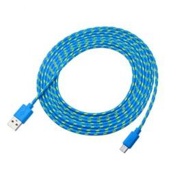 Przewód USB 300cm - nylon, pleciony - USB - Micro USB - do telefonu, aparatu, nawigacji itd.