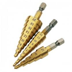 Wiertła stożkowe 3 szt - 4-20mm 4-12mm 3-12mm - do metalu - Wiertło stopniowe, choinkowe