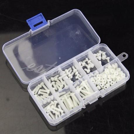 Śruby, nakrętki - M3 Polamid - 160 szt białe - zestaw do budowy