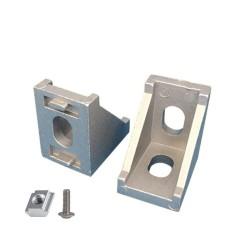Uchwyt narożny do profili aluminiowych 2020 - TSLOT, T-NUT, TNUT - ze śrubką i nakrętką