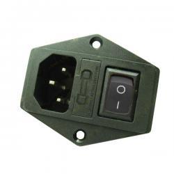 Gniazdo AC IEC - męskie - do obudowy na zatrzask z bezpiecznikiem i wyłącznikiem