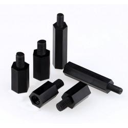 Dystanse nylonowe z bolcem i gwintem M3x6 + 6 - czarne 10 sztuk
