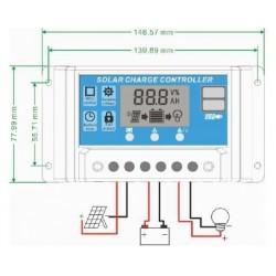 Kontroler solarny PWM - 20A 12/24V - wyświetlacz LCD - 2x gniazdo USB