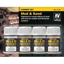 Vallejo 73191 Pigment Set Mud & Sand set
