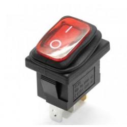 Przełącznik klawiszowy KCD1-101 250V 8A ON-OFF - czerwony podświetlany