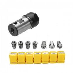 Głowica zaciskowa C16 5mm z zestawem tulei ER11 - 1/ 2/ 3/ 4/ 5/ 6/ 7mm - frezarka - frez - ostrze - mocowanie - uchwyt