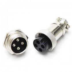 Złącze przemysłowe zakręcane GX12 4-PIN - wtyk z gniazdem